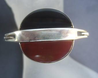 Sterling Artisan Jet & Carnelian Hinged Bracelet