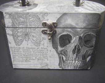Avant Garde Skeleton Anatomy Decoupage Box Purse