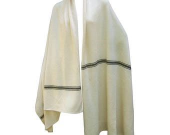 Calvin Klein Cashmere Ivory Striped Shawl/Wrap. 1980's.