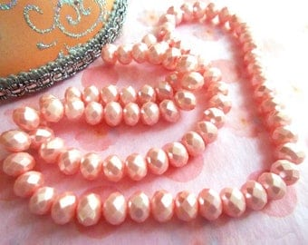 Pink faceted beads 6 mm glass Pearl