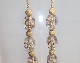 GOLD on gold, glass dangles
