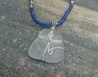 Genuine Sea Glass Wire Wrapped Pendant Necklace, Barcelona Spain, Unique One of a Kind Gift for Her, Beach Jewelry, Ocean Jewelry