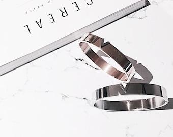 Rose Gold minimal bangle, simple bracelet, initial silver bangle, bridesmaid bracelet, handmade jewelry, love cuff bangle, friendship gift