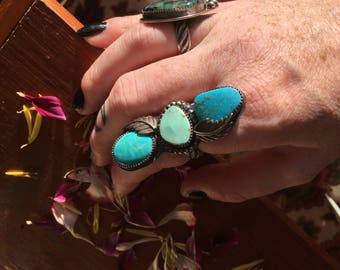 Triple Turquoise Dream Totem Ring, Sterling Silver Jewelry, Size 8, Kingman Turquoise -Nevada Turquoise
