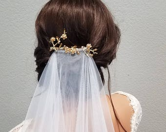 ANNA | Gold Bridal Branch Hair Clip with Pearls