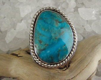 Kingman Turquoise Sterling Silver Man's Ring by Gordon