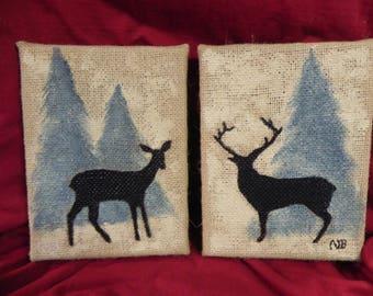 Burlap canvas deer painting