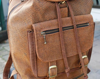 Travel Laptop Backpack Kangaroo Leather Rustic Tan