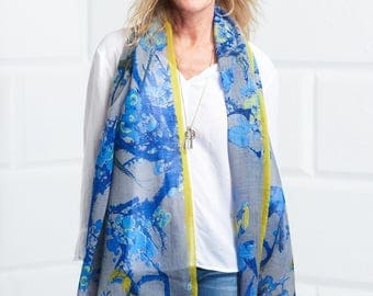 Birdy cobalt blue fine wool scarf with lime stripe border, Art, Quality, Luxury, Sophisticated, Occasion, Beautiful, Colours, Soft, BZ20B