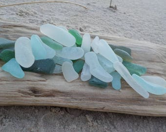 """39 Sea glass shards- Mosaic Sea Glass Pieces-White-Light blue-Green-Teal-Size 0.8-1.4""""-Genuine Sea Glass- High quality-For Crafts#G41#"""