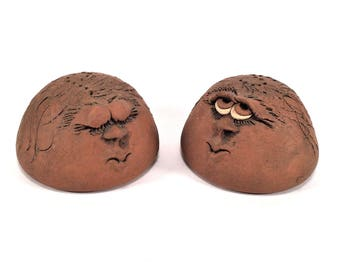 Vintage 70's Art Studio Pottery UGLY / FUNNY FACE Salt & Pepper Shakers~ Hand Crafted Studio Signed Chop Mark Mid Century