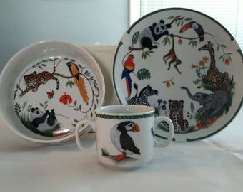 Lynn Chase Jungle Party Too Porcelain 3-Piece Set