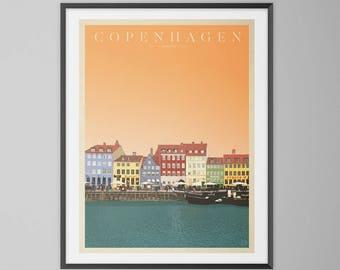 Copenhagen, Denmark vintage style, giclee travel print. Mid century modern wall art