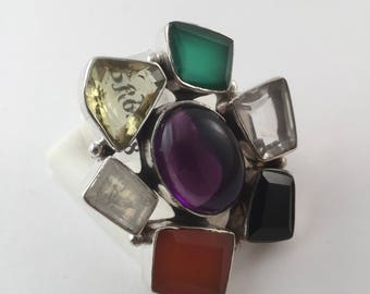 925 Sterling Silver Multi- Color Genuine Gemstone Ring