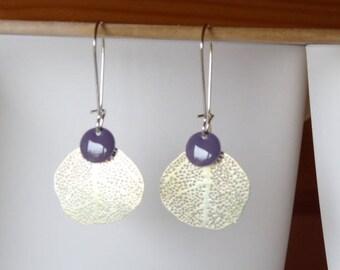 Filigree and enamel sequin leaf earrings