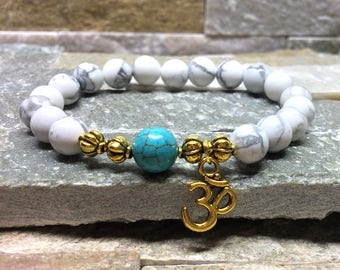 OM bracelet Turquoise Turquoise mala bracelet