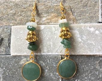 Buddha Earrings Moonstone Aventurine Gold Green