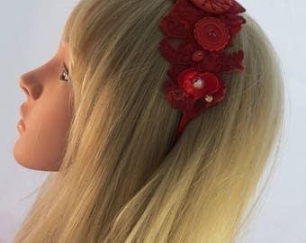 Vintage style red headband