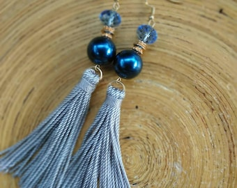 Gray Tassel Earrings With Beads