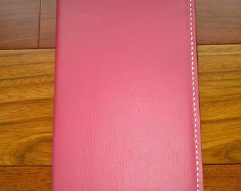 """Large Genuine Leather Journal Cover for Moleskine Classic Notebook, Planner, Size Large, 5"""" x 8.25"""", Dark Pink Leather, Planner"""