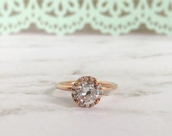 1.00ct Rose Gold Engagemet Ring Sterling Silver Rose Gold Filled Wedding Ring Proposal Ring