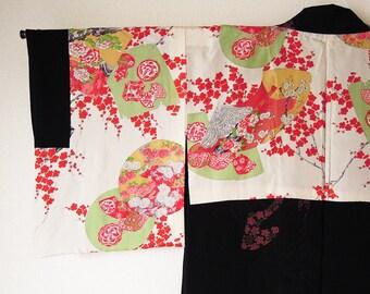 Vintage Japanese Haori / Black Haori / Kimono jacket / kimono