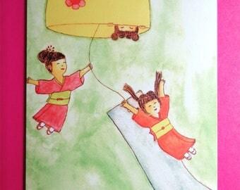 Kawaii Kokeshi Wind Chime Card-Cute Friendship Card-Playful Kokeshi Card
