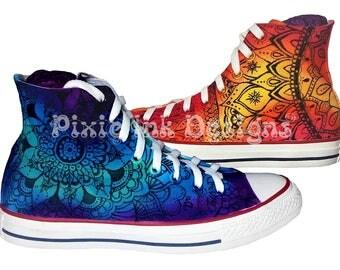 Unique Custom Hand Painted Rainbow Mandala Canvas Hi Top Ankle Boots, Henna Tattoo