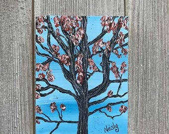 New York Tree Magnet of Original Painting Miniature Painting Decor Unique Gift New York Central Park Tree