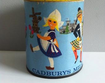 Vintage biscuit Tin, Cadburys people of the world, national costume, 10cm x 8.5 diameter.