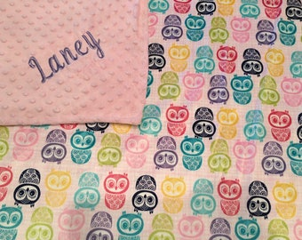 Personalized Owl minky blanket, Embroidered owl minky blanket,  Baby Gift, Nursery Blanket, Toddler Bedding, , Nursery Blanket, Crib Bedding