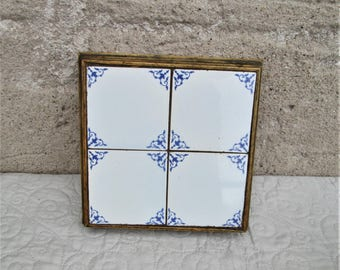 Vintage French Tiles, tile centerpieces, french vase base, wooden bases