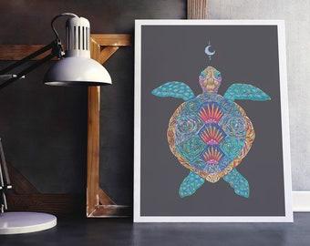 Sea Turtle Art Print, Colourful Sea Turtle Art, Colourful Turtle Print, Sea Turtle Wall Art, Turtle Totem Art Print, Turtle Spirit Guide