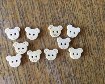 lot 10 buttons bear wooden light 13x11mm