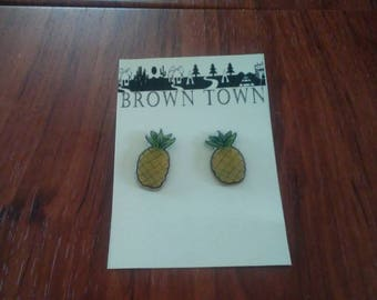Pineapple Earrings, Summer Earrings, Fun Earrings, Fruit Earrings, Food Earrings, Summer Earrings, Handmade, Shrink Plastic, Shrinky Dinks