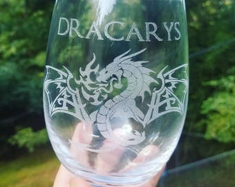 Dracarys, fire and blood, Targaryen, wine glass, laser engraved, fire dragon, game of thrones gift