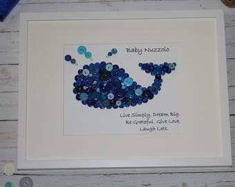 Personalized Baby Gift, Whale Nursery Art, Button Art, Framed Nursery Picture, Button Whale, Baby Boy Gift