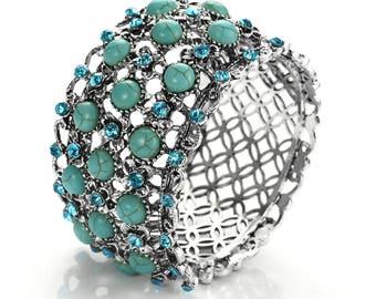 Novadab Regal Flower Bed Turquoise Bracelet