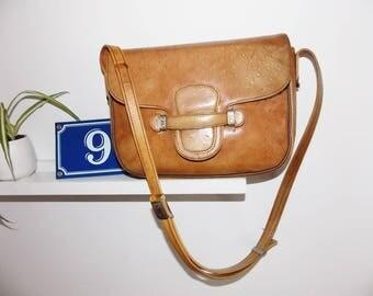Ostrich leather bag french vintage designer Pourchet