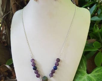 Aurora - Amethyst, Lapis Lazuli and Labradorite necklace