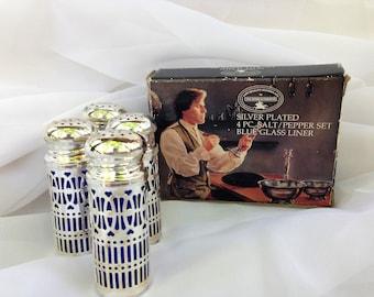 Vintage Silver Plated Cobalt Blue Glass Salt & Pepper Shakers by Paul Revere