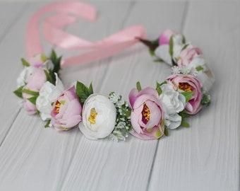 orchid baby flower crown kids pink flower hair wreath flower girl toddler bridesmaids Blush hair wreath wedding flower headband white