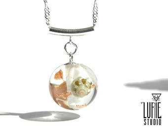 Sea shell necklace, with coral lichen and Copperflake, unique resin jewelry, one of a kind gift