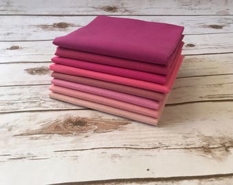 Solid Fabric Bundles, Pink Fabric, Fat Quarter Bundle, 1/2 yard bundle, 1 yard bundle, Quilting Fabric, Cotton Fabric, Sewing