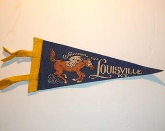 Small Felt Pennant/Banner. Souvenir Of Louisville Kentucky. Horse Race