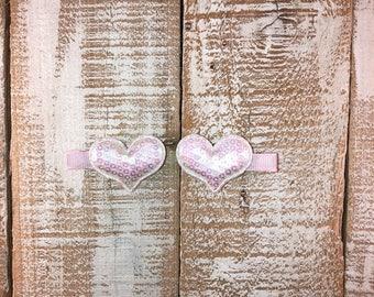 Valentines Day Iridescent Sequin Heart Hair Clip, Piggy Tail Clip Set, Toddler Hair Clip, Girls Valentines Day Hair Clip
