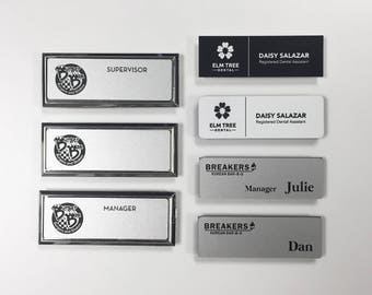 custom engraved name tag magnetic, Name tags for work, staff name tags, employee name tags, personalized name tags, restaurant name tags