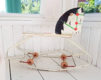 Antique rocking horse, ride on horse, wood horse, wooden toys, vintage scandinavian design, kids room decor, vintage kids room, vintage toys