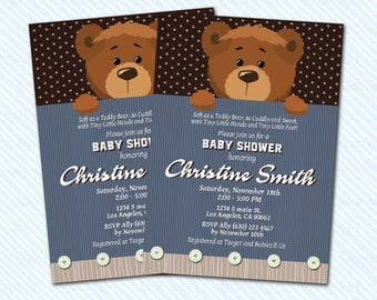 Digital Printable Bear baby Shower Invitation. baby invitation