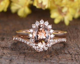 Pink Morganite engagement ring set rose gold diamond ring floral HALO VS Morganite wedding ring curved band half eternity dridal rings 2pcs